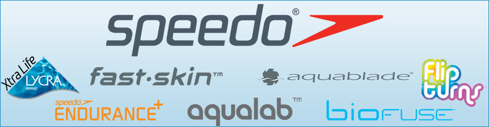 Banner with Speedo logo and the different Speedo collection