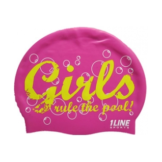 1Line Sports Girls Rule Silicone Swim Cap product image