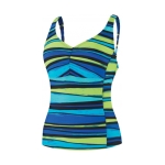 Speedo Woodblock Stripe Comfort Strap Tankini Top Female