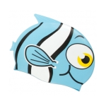 Blue Fish Silicone Swim Cap