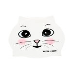 White Cat Critter Silicone Swim Cap