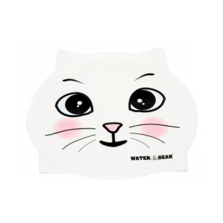 Water Gear White Cat Critter Silicone Swim Cap product image