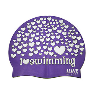 1Line Sports Love Swimming Silicone Swim Cap product image
