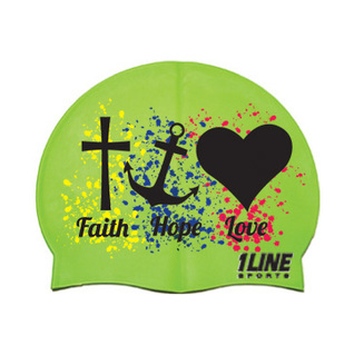 1Line Sports Faith Hope Love Silicone Swim Cap product image