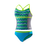 Speedo Girls Digi Zig Zag Heather Tankini 2PC
