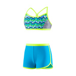 Speedo Girls Digi Zig Zag Heather Boyshort 2PC
