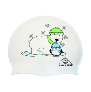 Water Gear Polar Bear and Penguin Graphic Silicone Swim Cap product image