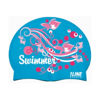 1Line Sports Swimmer Swirl Silicone Swim Cap product image