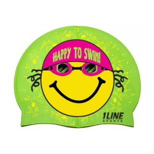 1LineSports Happy To Swim Silicone Swim Cap product image