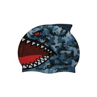 Water Gear Blue Shark Silicone Swim Cap product image