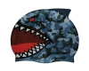 Water Gear Blue Shark Silicone Swim Cap
