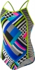 Speedo Poptical Stripes Side Splice Girls