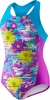 Speedo Girls Fractured Floral Side Splice 1PC