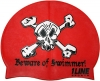 1Line Sports Beware of Swimmer Silicone Swim Cap