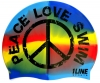 1Line Sports Peace Love Swim Silicone Cap