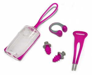 Aqua Sphere Silicone Ear Plugs & Nose Clip w/Lanyard & Carrying Case