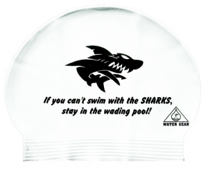 Water Gear Can't Swim With The Sharks Latex Swim Cap