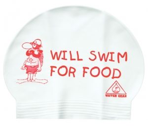 Water Gear Will Swim For Food Latex Swim Cap