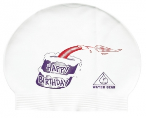 Water Gear Happy Birthday Latex Swim Cap