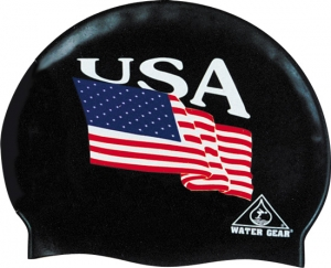 Water Gear Silicone USA Swim Cap
