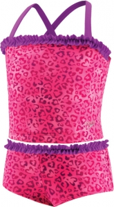 Speedo Leopard Love 2pc Tankini with Ruffle Girls