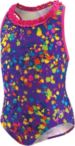 Speedo Spectacular Splatter 1pc Racer Back w/Ruffle Girls