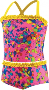 Speedo Spectacular Splatter 2pc Tankini w/Ruffle Girls