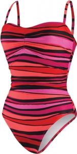 Speedo Woodblock Stripe Keyhole One Piece Suit Female