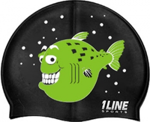 1Line Sports Happy Fish Silicone Swim Cap