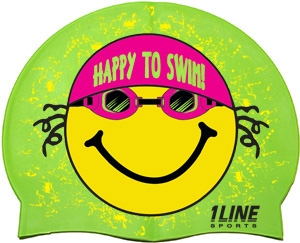 1LineSports Happy To Swim Silicone Swim Cap