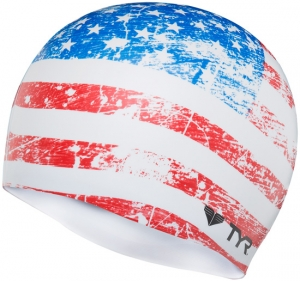 Tyr Old Glory Flag Silicone Swim Cap