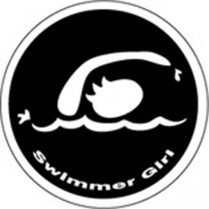 BaySix Swimmer Girl Round Decal