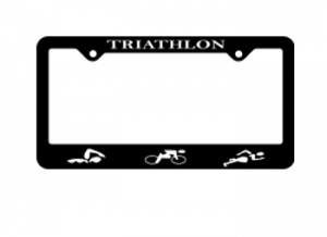 BaySix Triathlon Figures License Plate Frame