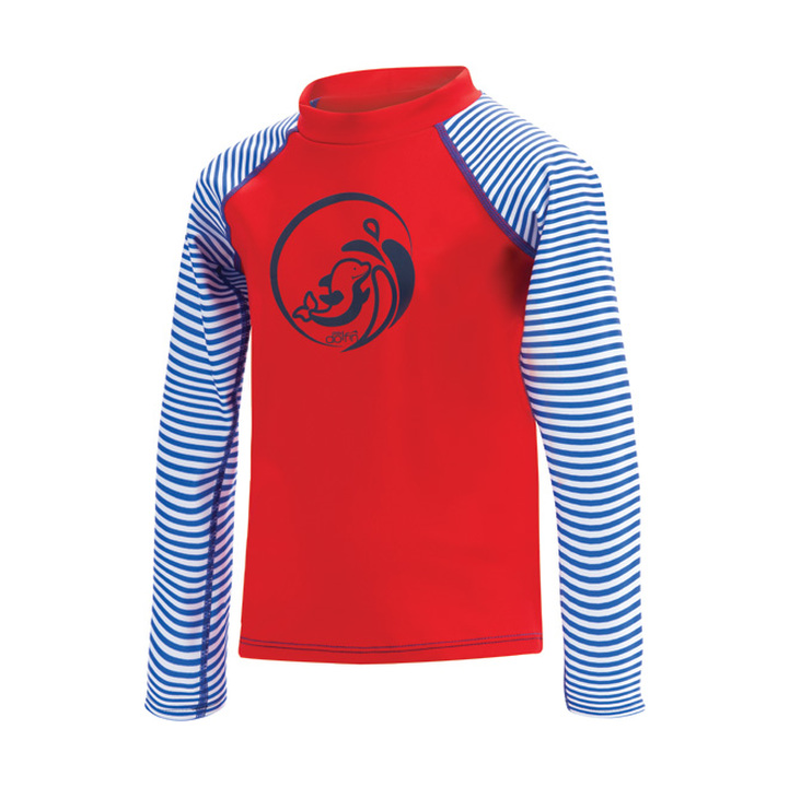 Dolfin Little Uglies Royal Stripe/Red Printed Mock Neck Long Sleeve Rash Guard product image