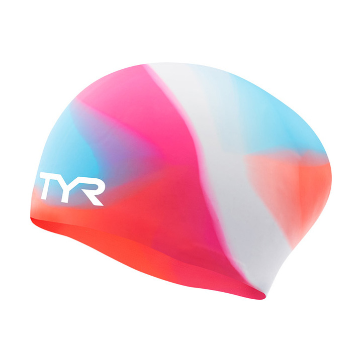 Tyr Tie Dye Long Hair Youth Silicone Swim Cap product image