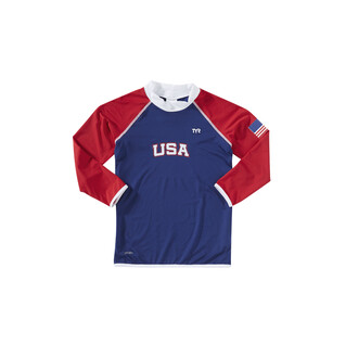 TYR Kid's USA Long Sleeve Rashguard