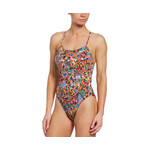 Nike Hydrastrong Lace Up Tie Back Multiple Print Swimsuit