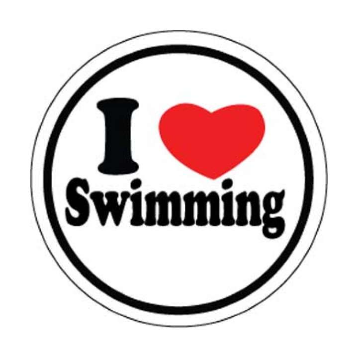 BaySix I Heart Swimming Round Decal product image